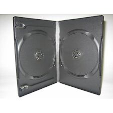 100 BLACK DOUBLE 2 DVD CASE 14MM W BOOKLET CLIPS PSD31