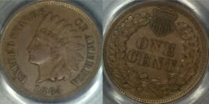 1864-L Indian Cent PCGS RPD S-5 AU55, EAGLE EYE
