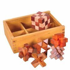Puzzles 6 Pcs Brain Teaser Kong Ming Lock 3D Wooden Interlocking Game Education