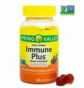 SPRING VALLEY Immune Plus Vegetarian Gummies 60 ct Immune System Support Gummy