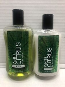 BATH & BODY WORKS WHITE CITRUS 2 in1 Hair & Body Wash For Men 10 OZ + LOTION 8oz