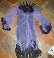 DRESS UP Zombie creepy COSTUME GIRLS SMALL chiffon feathers lilac black