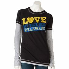 "$30 UNIVERSITY OF DELAWARE Blue Hens Mock-Layer ""Love"" Tee Shirt XS LONG SLEEVE"