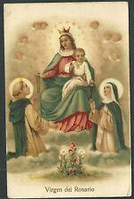 Postal antigua Virgen del Rosario andachtsbild santino holy card santini