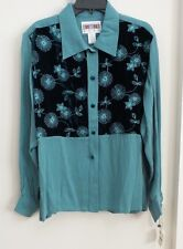 "GORGEOUS NEW ""ROPA"" BRAND ""TEAL w/ VELVET"" EMBROIDERD SHIRT, SIZE LARGE, NWT"