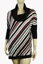 White House Black Market Med Cowl Neck Stripe Poncho Pullover Sweater 8d2245bef