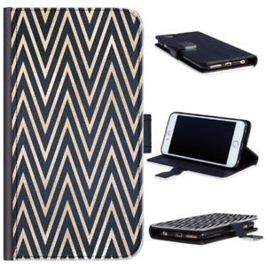 Black & Gold Chevron Phone Case For iPhone 13/12/Pro/Max, PU Leather Flip Cover