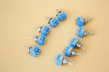 Blue Toggle Switch AC125V 6A 10Pcs MTS-203 DPDT New 3 Positions ON/OFF/ON