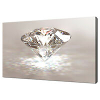BEAUTIFUL DIAMOND GEMSTONE SEPIA BROWN MODERN CANVAS PRINT WALL ART PICTURE