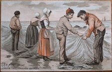 Chicoree Advertising on Nautical/Fishing 1910 Artist-Signed Color Litho Postcard