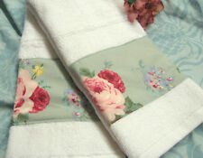 COTTAGE LANE Ralph Lauren fabric Custom Decorated 2 White Hand Towels