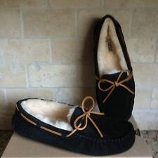UGG Dakota Slippers Moccasins Black Suede / Sheepskin US 10 Womens 5612