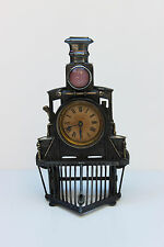 Very RARE 1878 Silver-Plate Train Locomotive Clock Germany