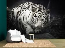 Black White Tiger Rock Stone Wall Black Mural Photo Wallpaper GIANT WALL DECOR