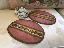 Pair Of Antique Victorian Pink Velvet Table Runners Floral Metalwork Trim N4