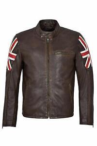 MOTERO Men's UK Flag Vintage Brown Distressed CE Armoured Biker Leather Jacket
