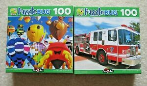 PUZZLEBUG 100 PIECE PUZZLES ~ LOT OF 2 ~ NEW, SEALED ~ BALLOONS, FIRE ENGINE