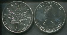 CANADA 1989 - 5 Dollars in Silber (1 Unze), stgl. - MAPLE LEAF