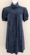 ELLA MOSS Women Tunic Sz M Peacock Floral Blue Short Sleeve High Collar
