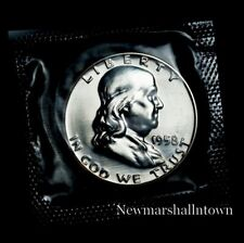 1958 Franklin Mint Proof Half Dollar from Proof Set in Mint Cellophane