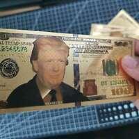 10Pcs President Donald Trump Colorized $100 Dollar Bill Gold Foil Banknote US
