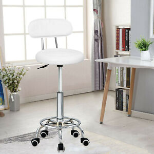 Stool Swivel Chair White Adjustable Height Chair Office Round Desk PC Stool UK