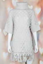 BOHO Lovely *REBECCA TAYLOR* Gray FRINGED Crochet TUNIC Turtleneck SWEATER M