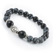 Fashion Men's  Natural White Spot Stone Bead Silver Buddha Head Lucky bracelet J