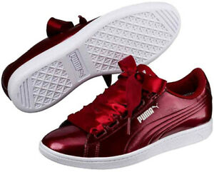 PUMA Vikky Ribbon P Ladies Trainers Burgundy Red White Womens Sports Shoes