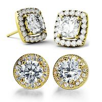 5ct cushion cut halo cubic zirconia  sterling silver stud earrings elegant women