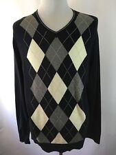 Men's Banana Republic XL V-neck XL Argyle Knit Wool Blend Sweater