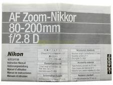 Manuale cartaceo originale per Nikon AF zoom Nikkor 80/200mm. f2,8 D.