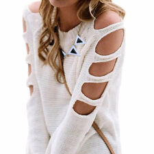 Women Long Sleeve Jumper Pullover Cold Shoulder Knitted Blouse Sweater Top Shirt