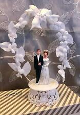 Vintage Wedding Cake Topper 1960's Ceramic Bride Groom Hard Plastic Base