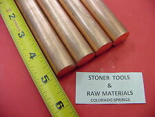 4 Pieces 34 C110 Copper Round Rod 5 Long H04 Solid Cu New Lathe Bar Stock