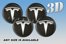 TESLA domed wheel center cap decals emblems stickers 4 pcs ~ ANY SIZE ~ sil/carb