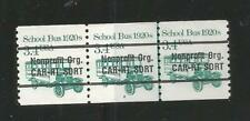 Strip of 3, Numbered line pair, 3.4 cent nonprofit CAR-RT School Bus Precancel,