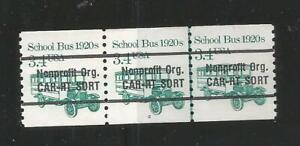Strip of 3, Numbered line pair, 3.4 cent nonprofit CAR-RT School Bus Precancel,