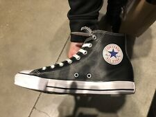 Converse Unisex All Star Hi Top Leather Shoes Black White Chuck Taylor Any Sizes