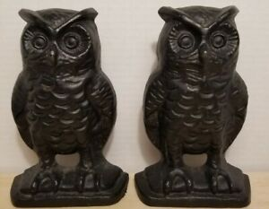 Vintage Mid-Century Modern Owl Bookends Cast Metal Black  EMIG 1548