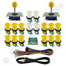 2 Player Arcade Control Kit 2 Ball Top Joysticks 16 Buttons Xin-Mo Yellow JAMMA