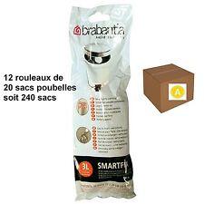 """BRABANTIA LOT 240 SACS POUBELLES  """"A""""   pour poubelle 3 litres"""