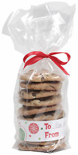 12 x Tall Cookie Presentation Bags with to from printed card bands Biscuit Bags