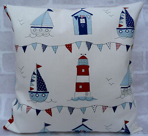 Fryetts Maritime Beach Huts Lighthouse Bunting cushion cover 16 inch all sizes