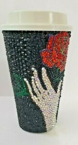 Customized 16oz Hot Cup With 3000 Hand Placed Rhinestone Hand Me A Rose NEW CUP