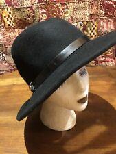 Vintage Black Wool Felt Bucket Cloche Wide Brim Antique Hat