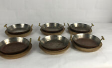 Set Of 6 Carl Auböck Mid Century 1960's Metal Egg Pans & Round Wooden Plates