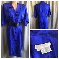 VTG 80's Silk Dress FLORA KUNG II PETITE Royal Blue Shiny Jacquard Belted Gown 8