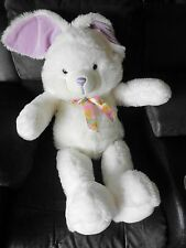"Goffa PLUSH BUNNY Rabbit 35"" Large WHITE Purple Ears Floral Ribbon Bow"
