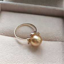 8-8.5mm AAA round Akoya golden pearl ring 18k gold flower size 4-10